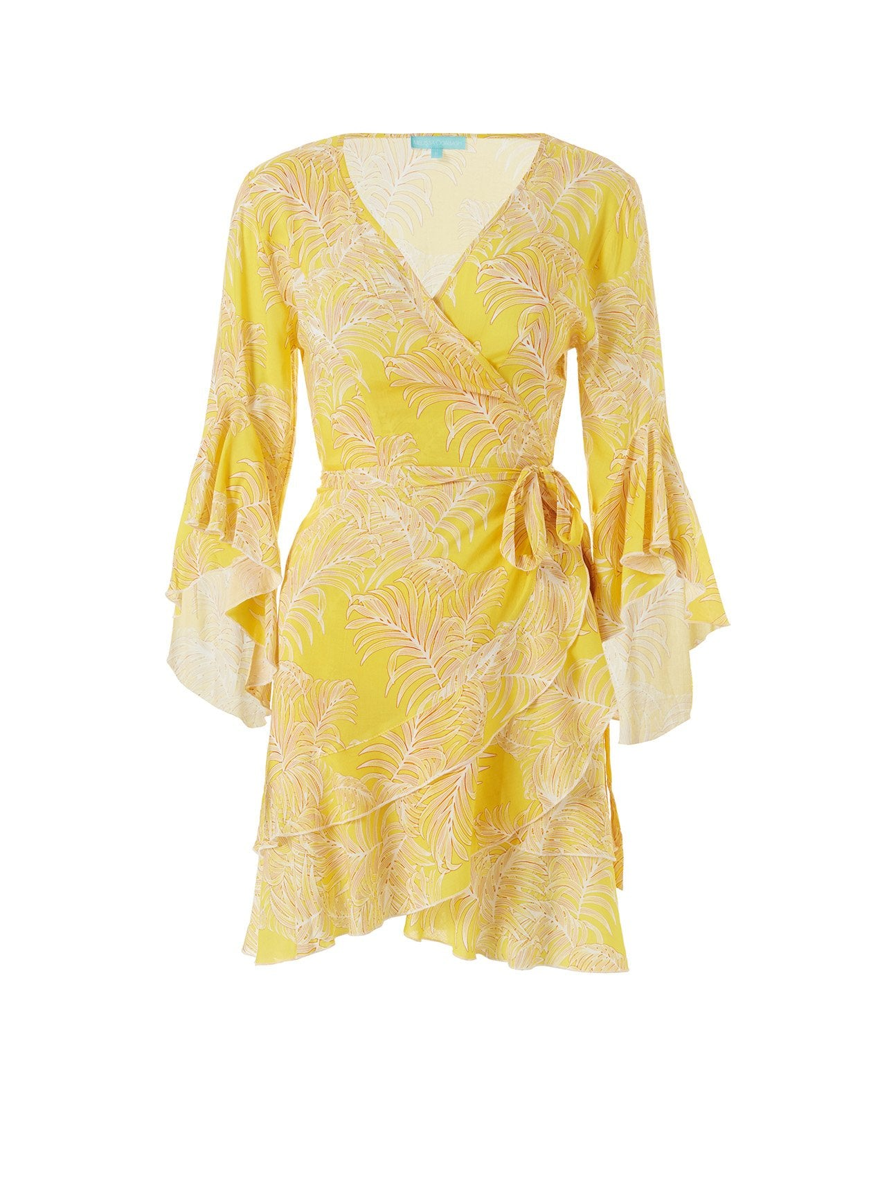 kirsty tropical yellow short wrap dress