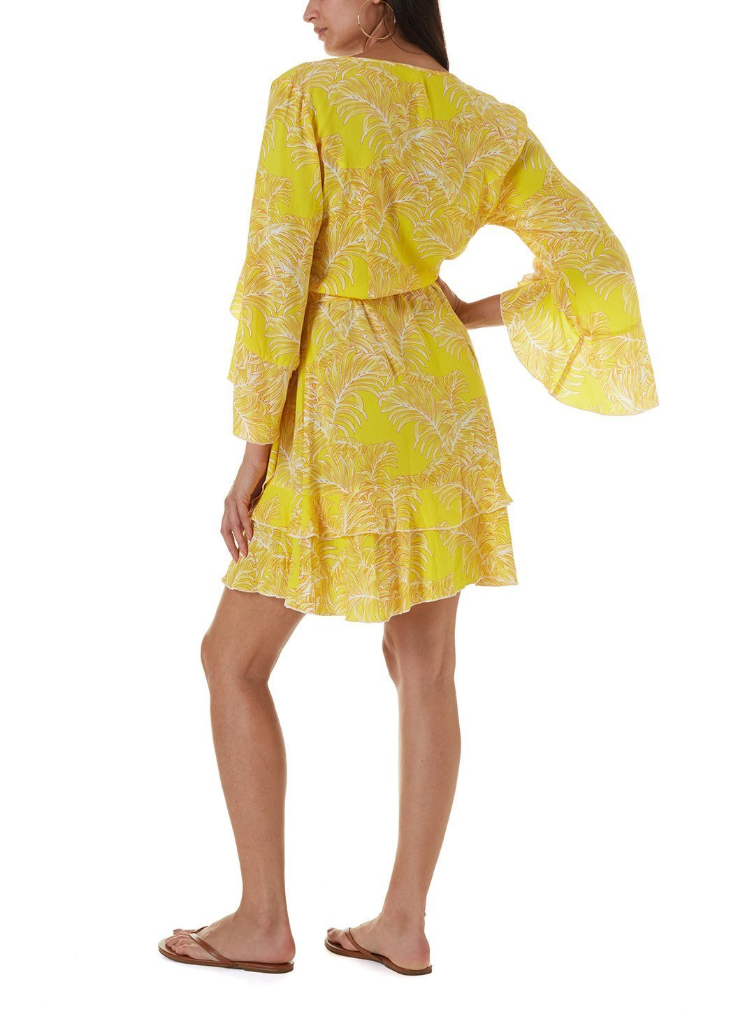 kirsty tropical yellow midi kaftan
