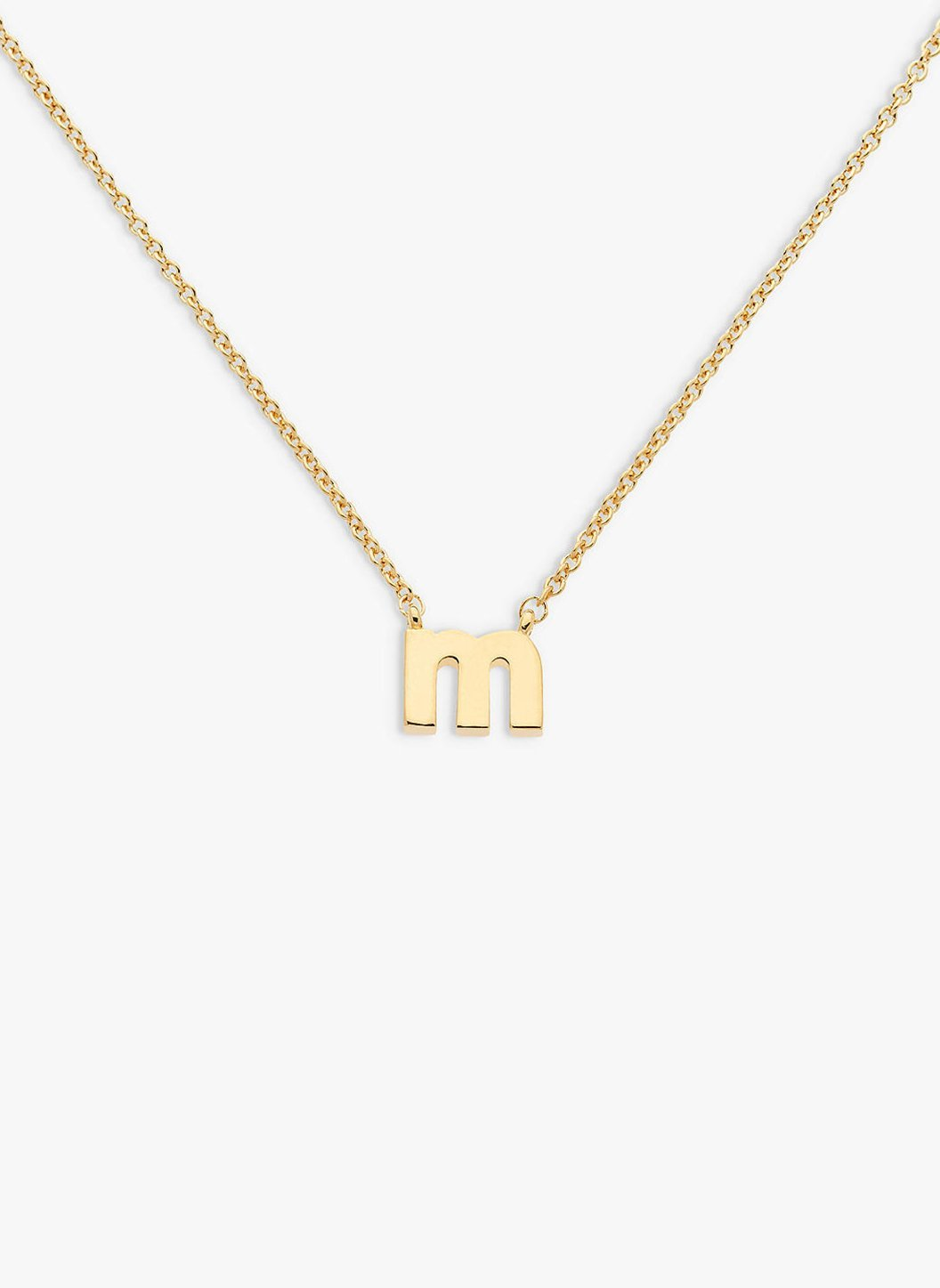 letter _m_ pendant necklace