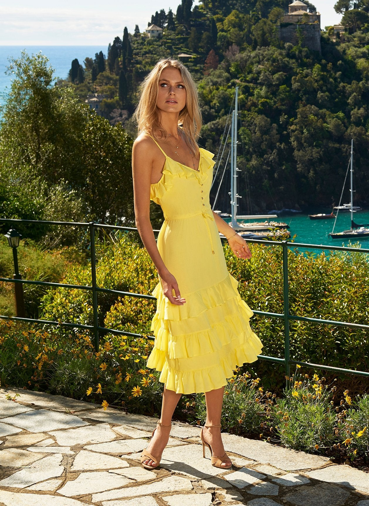 bethan yellow midi dress