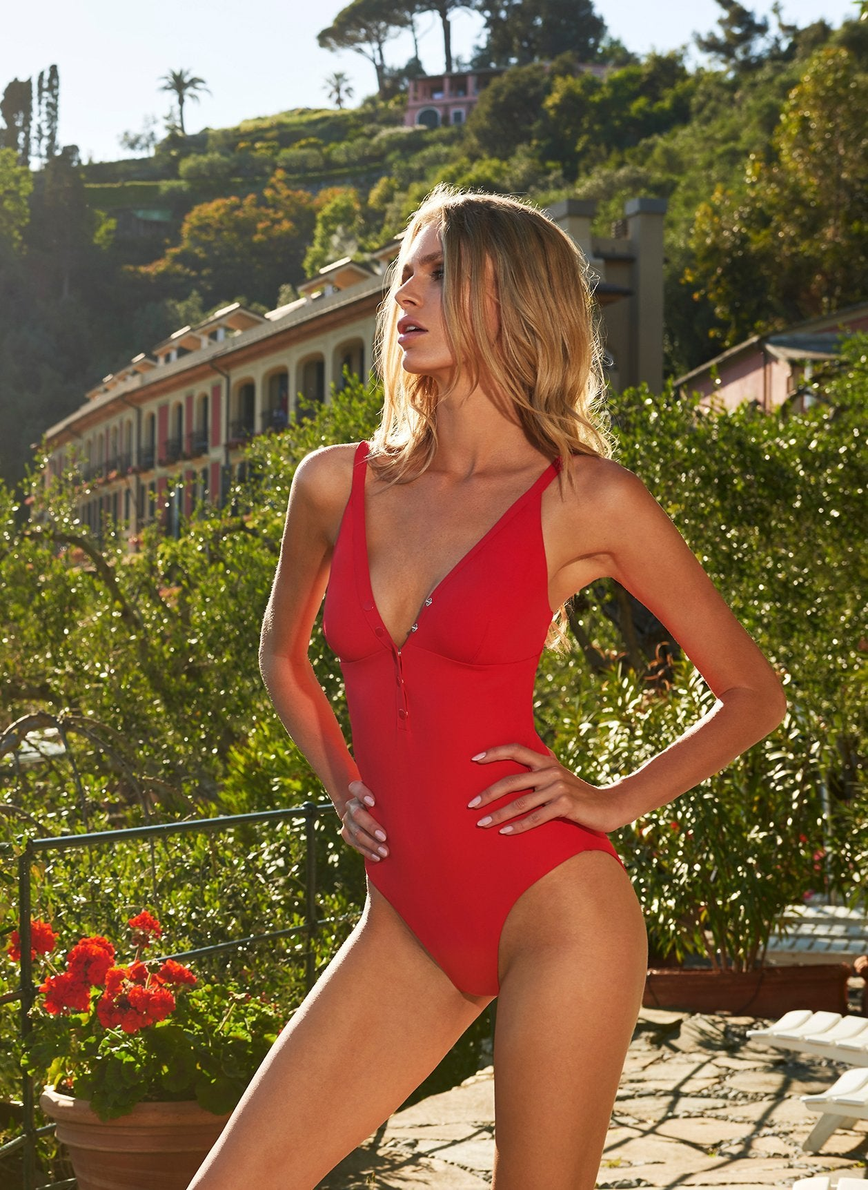 nepal red swimsuit