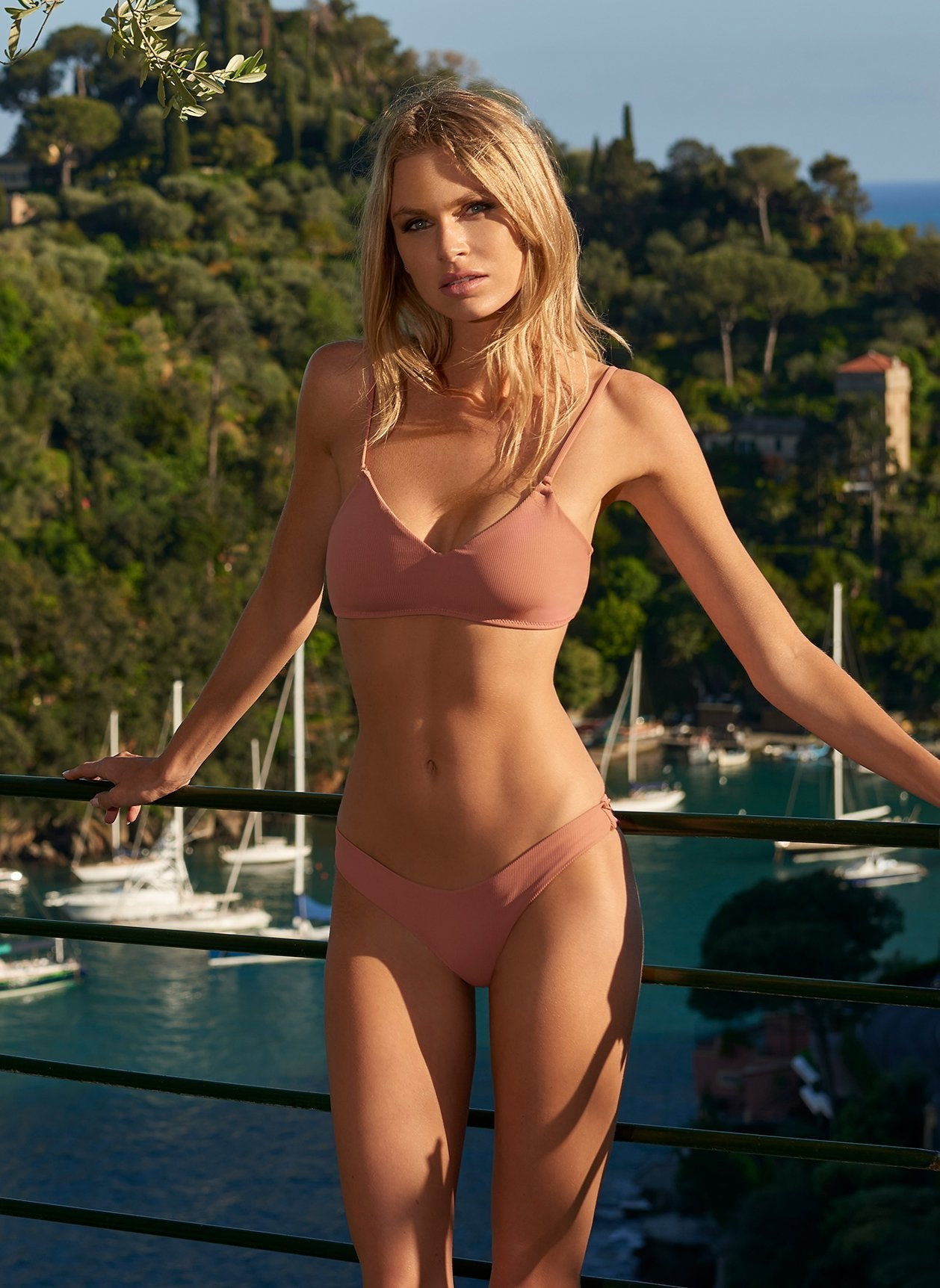 vienna dusty rose ribbed bikini