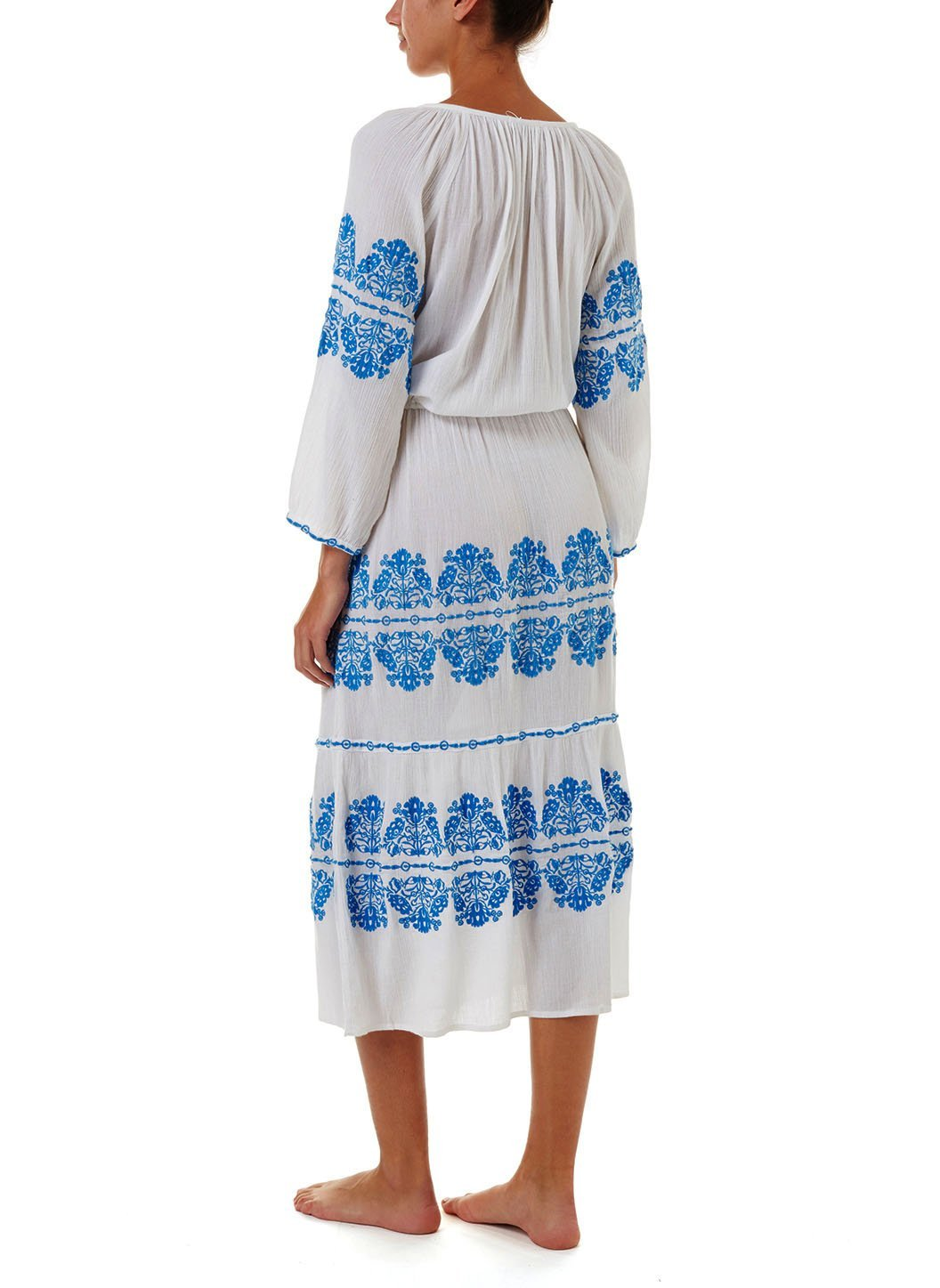 lillie white blue embroidered long sleeve belted midi dress 2019 B