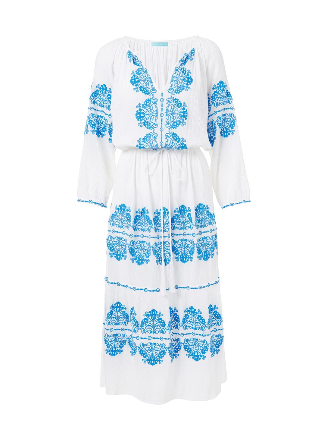 lillie whiteblue embroidered midi dress 2019