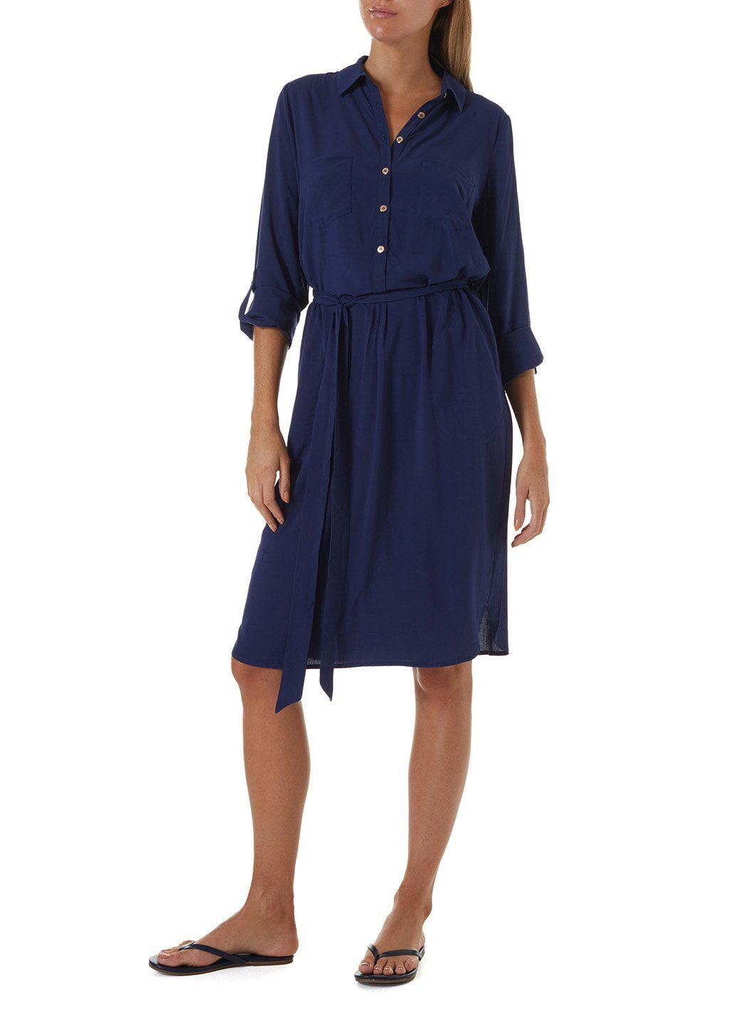 lois navy short shirt dress