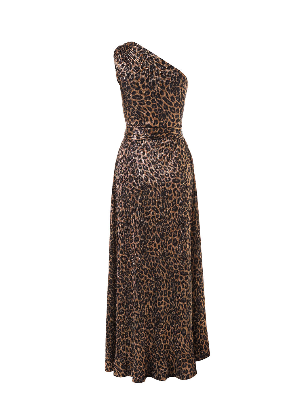 Look 2 One Shoulder Draped Maxi Dress Leopard
