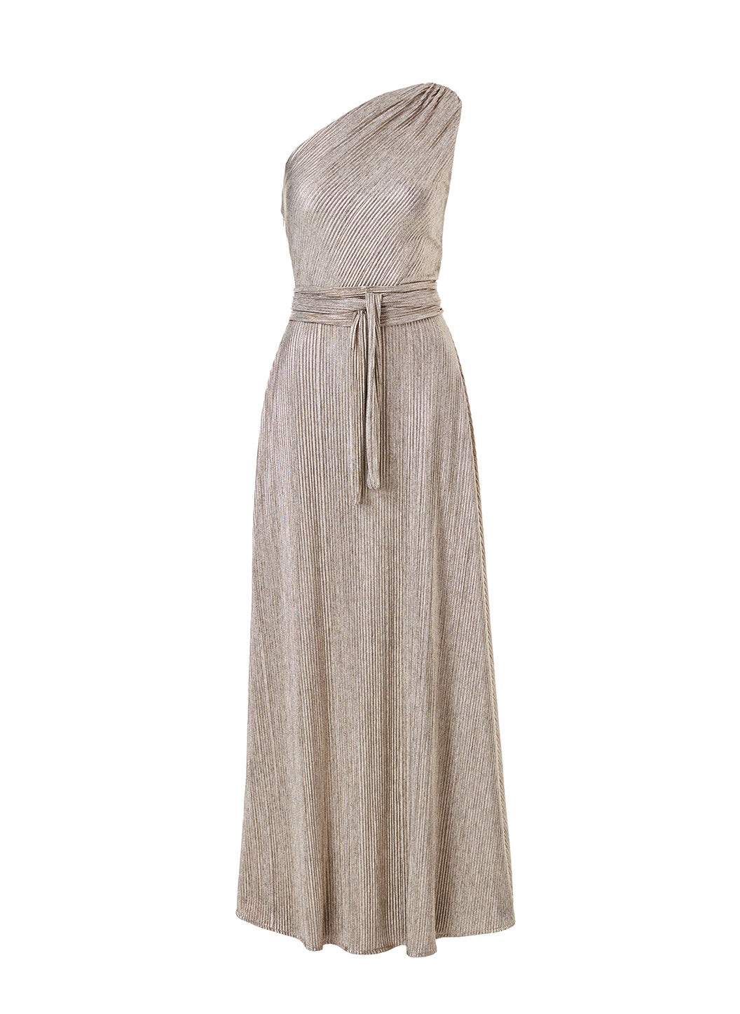 Look 2 One Shoulder Draped Maxi Dress Metal