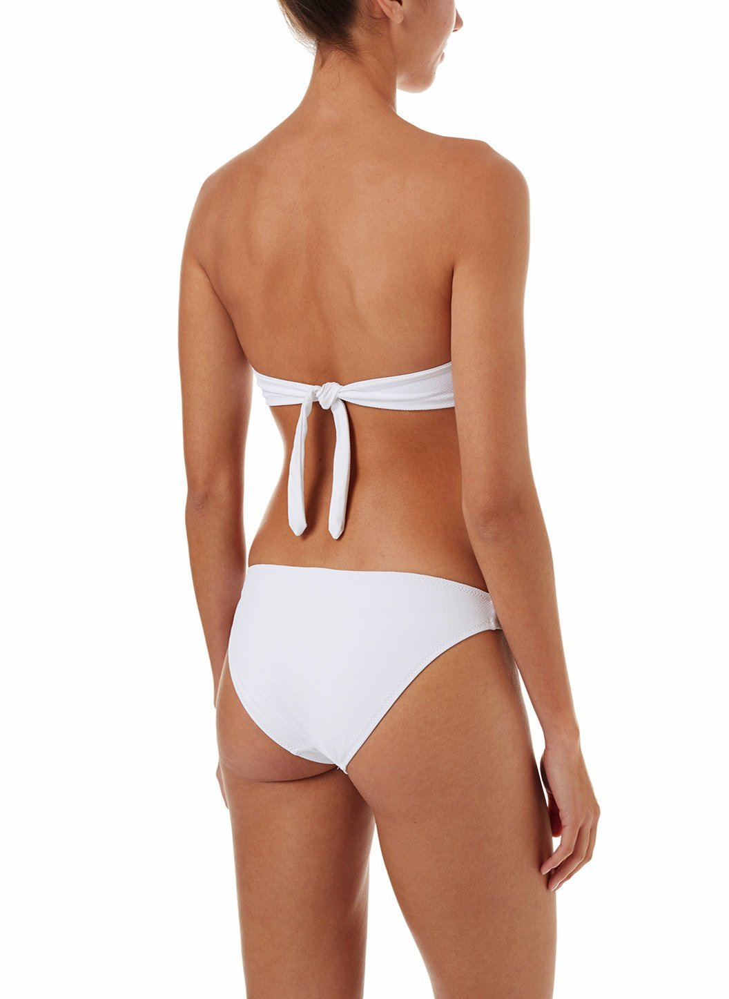 martinique white pique bandeau padded twist bikini 2018 B