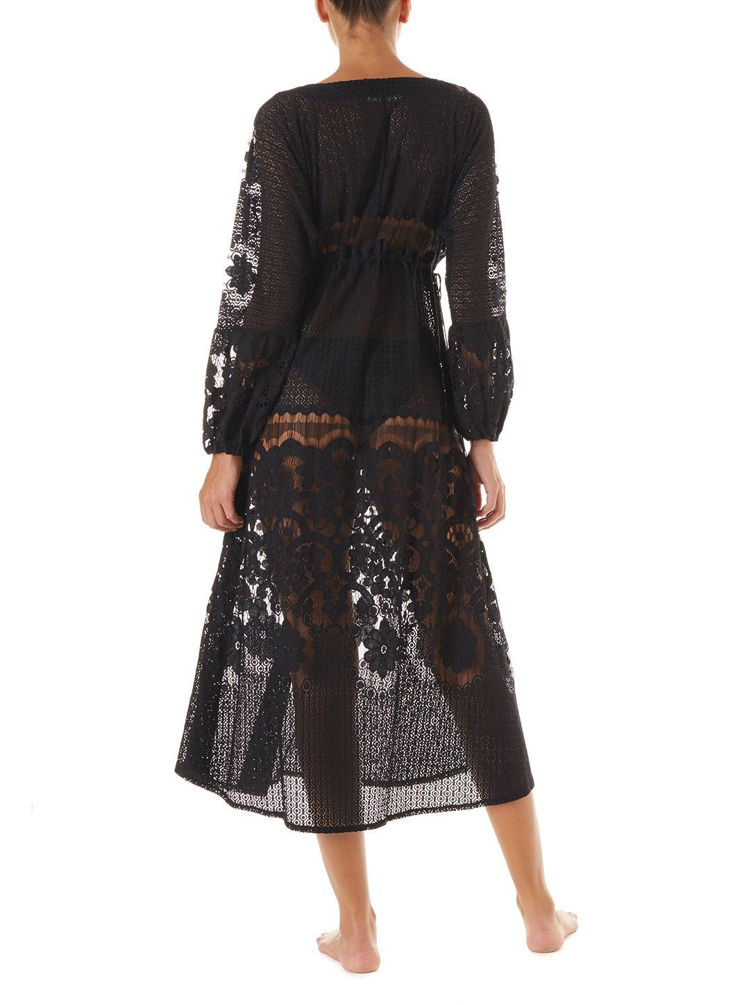 melissa black lace tieside midi dress 2019 B