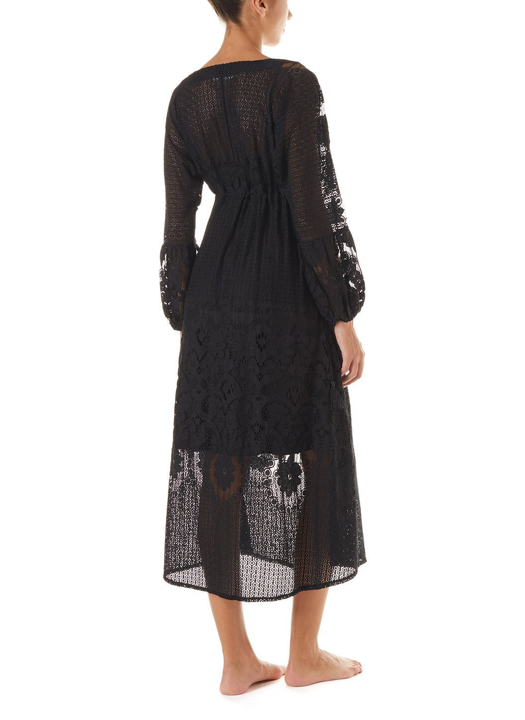 melissa black lace tieside midi dress 2019 B_2