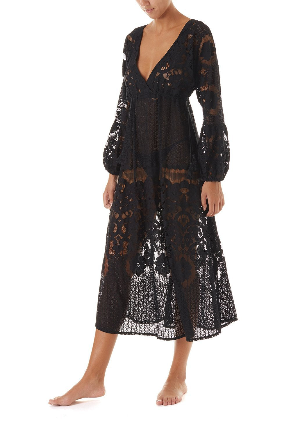 melissa black lace tieside midi dress 2019 F