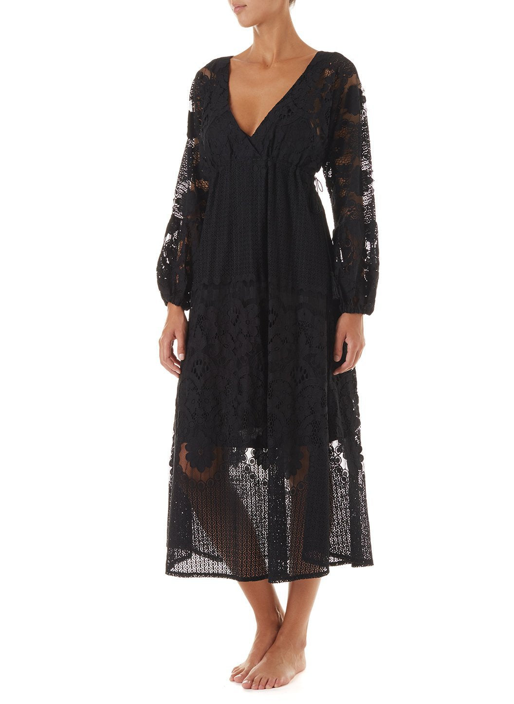 melissa black lace tieside midi dress 2019 F_2