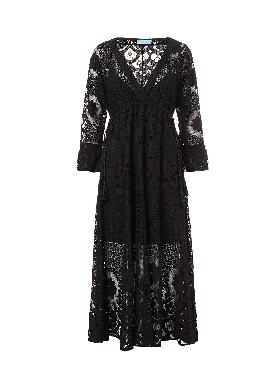 melissa black lace tieside midi dress 2019