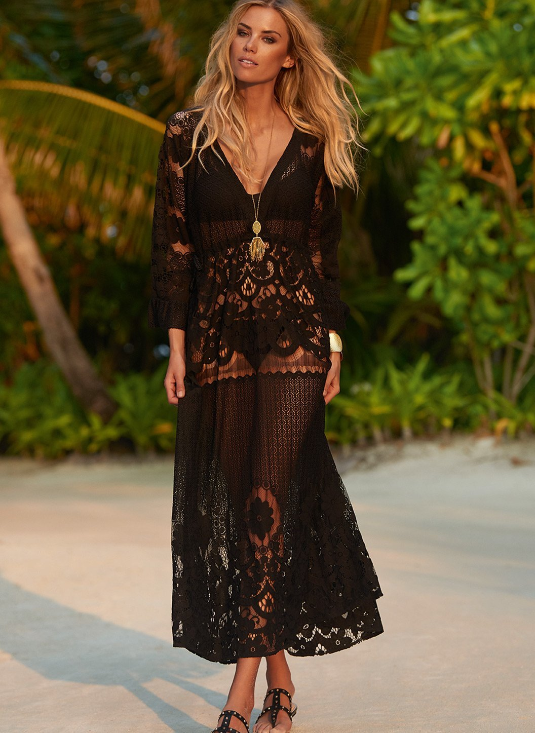 melissa black lace tieside midi dress lifestyle 2019