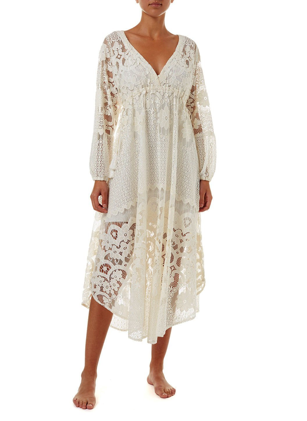 melissa cream lace tieside midi dress 2019 F