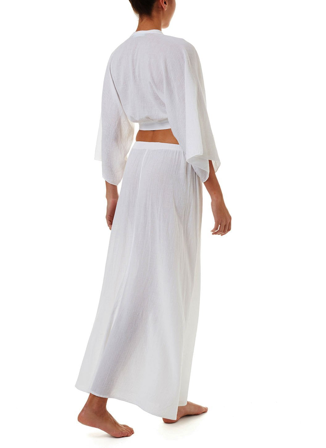 Dru White Button-Down Maxi Skirt