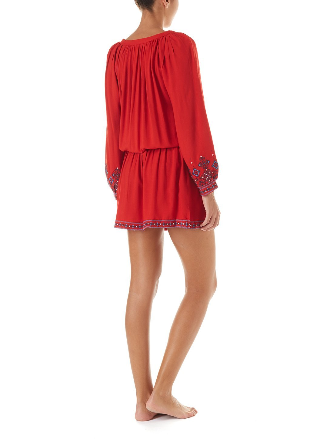 nadja red embroidered 34sleeve short dress 2019 B