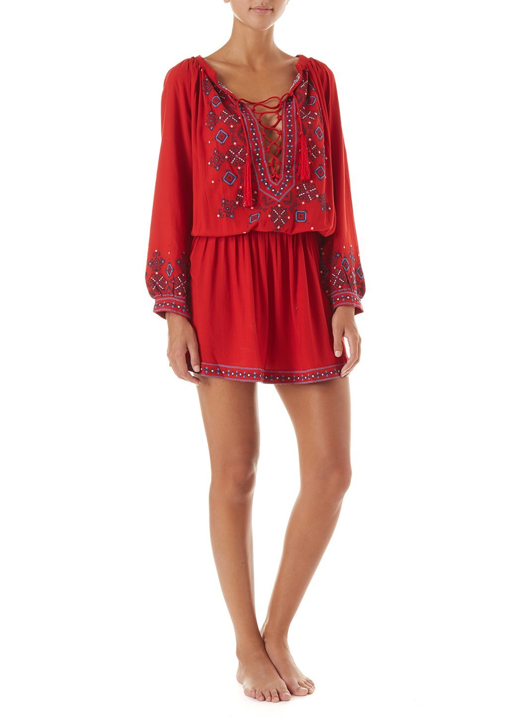 nadja red embroidered 34sleeve short dress 2019 F