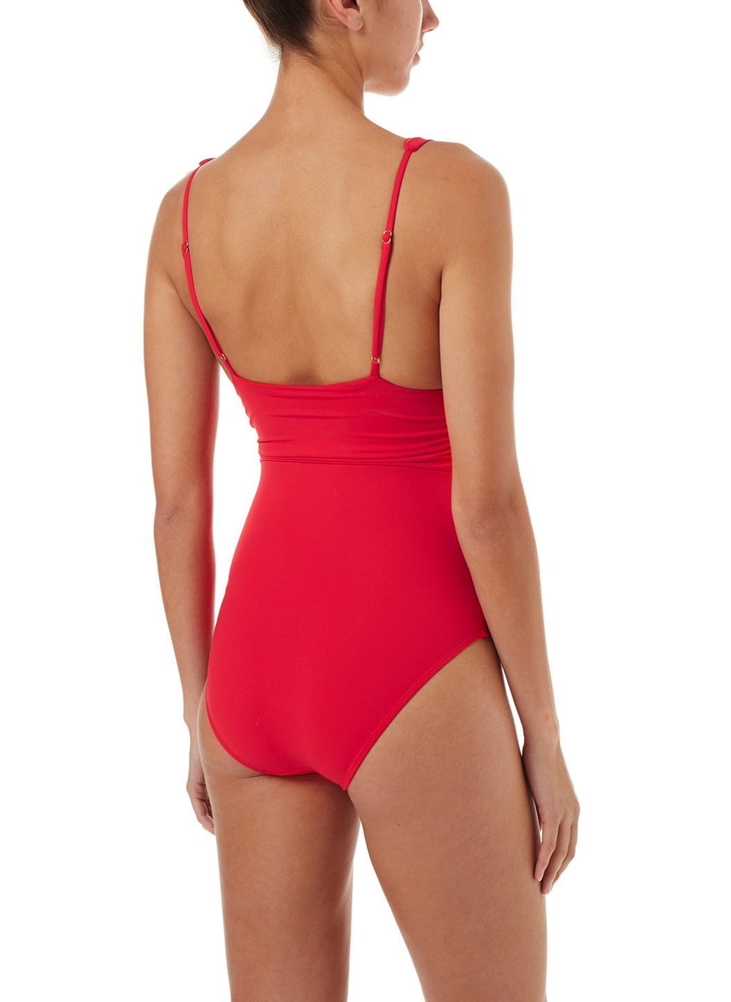 panarea red classic overtheshoulder ruched onepiece swimsuit 2019 B
