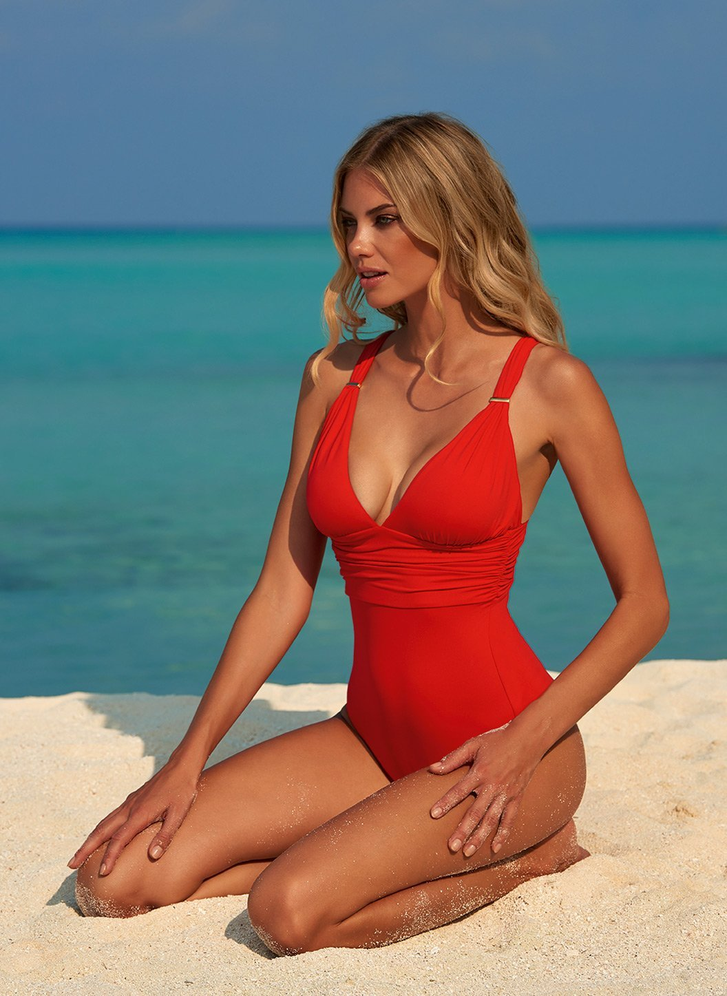 panarea red classic overtheshoulder ruched onepiece swimsuit lifestyle 2019