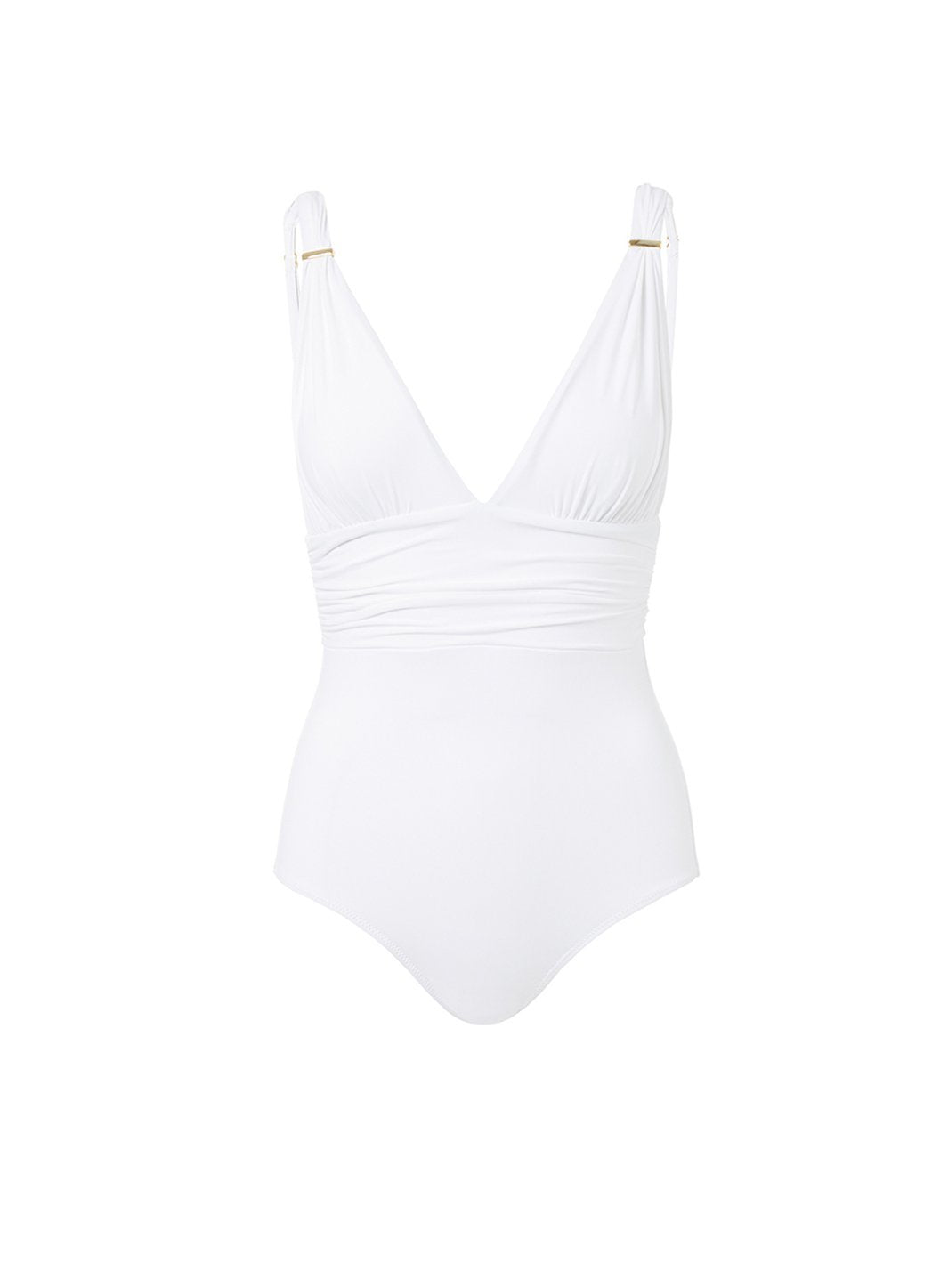 panarea white classic overtheshoulder ruched onepiece swimsuit 2019