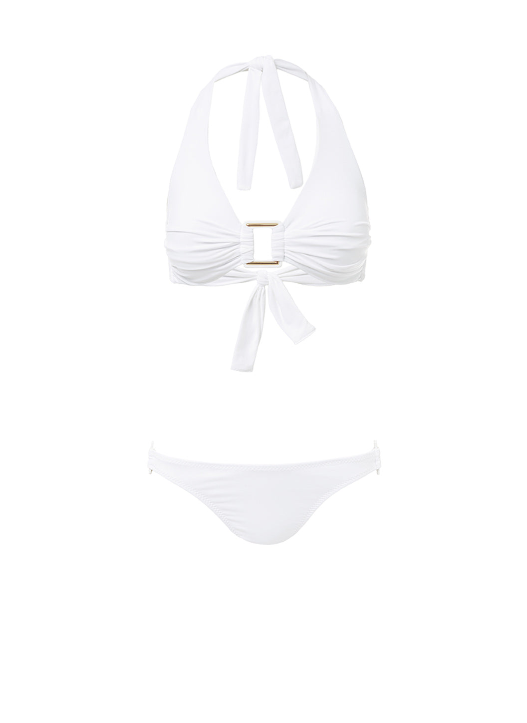Paris White Halterneck Rectangle Trim Bikini