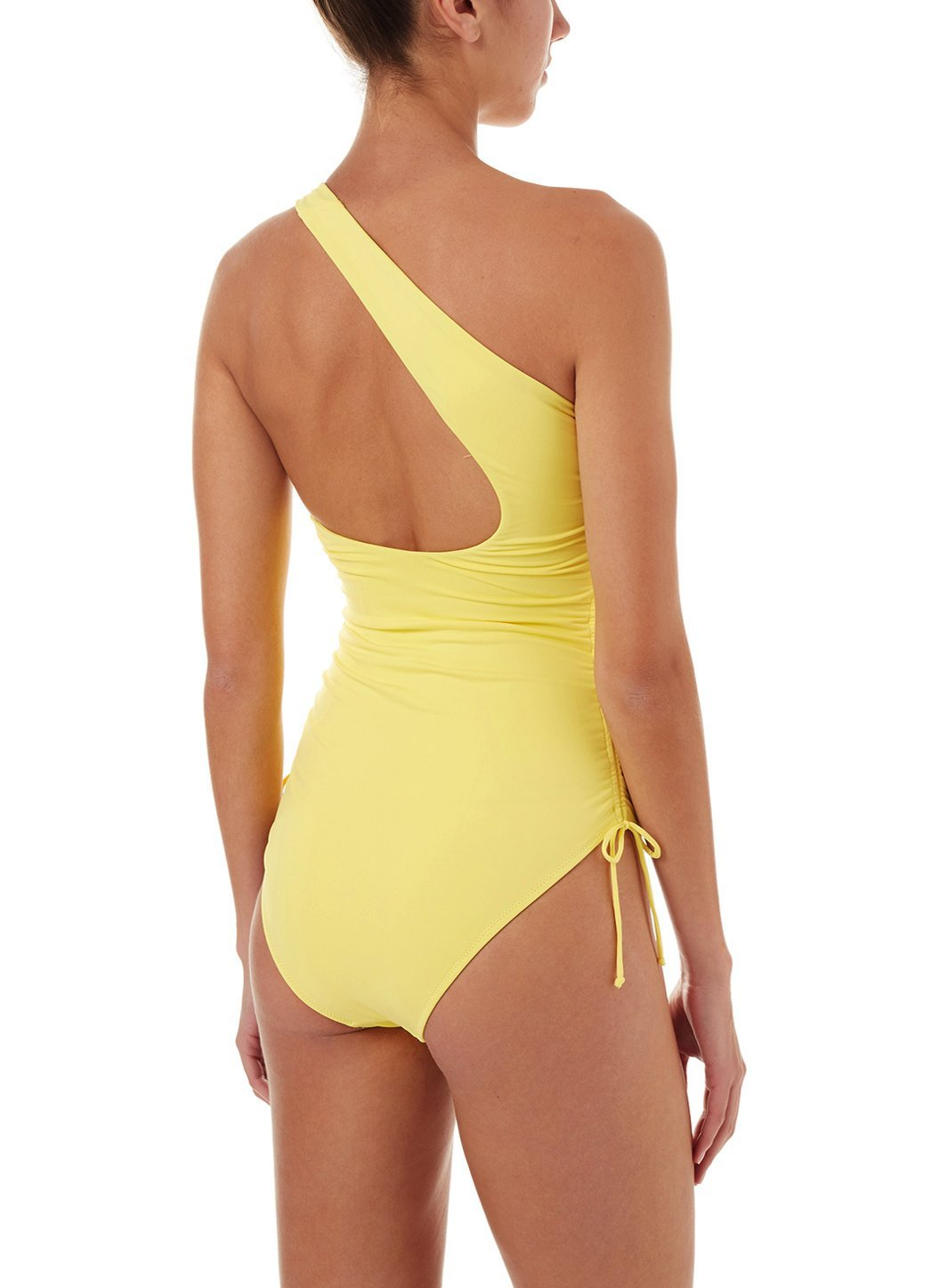polynesia yellow oneshoulder ruched onepiece swimsuit 2019 B