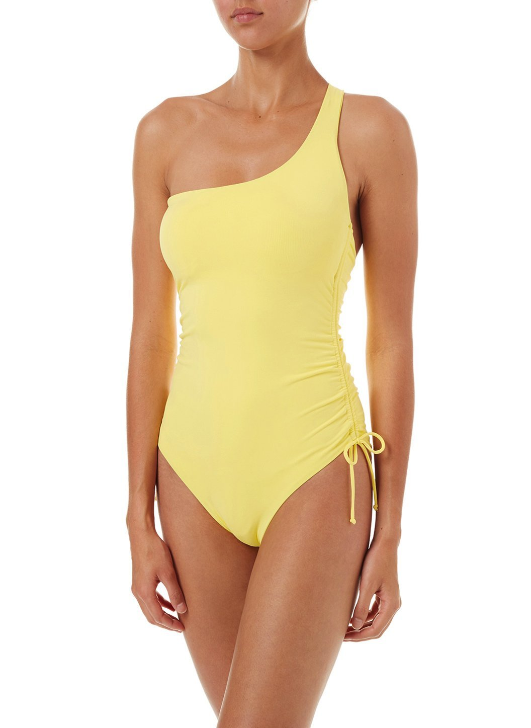 polynesia yellow oneshoulder ruched onepiece swimsuit 2019 F
