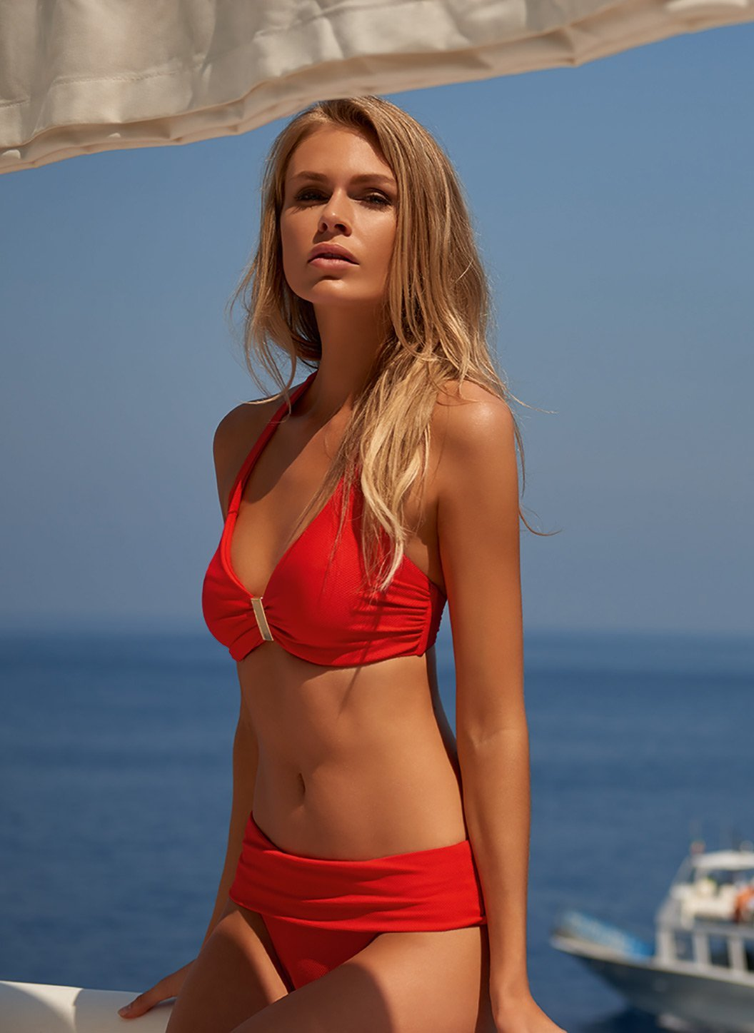provence red pique halterneck supportive bikini lifestyle 2019