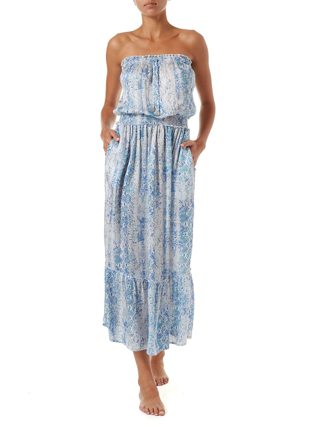rachel serpente bandeau silk maxi dress 2019 F