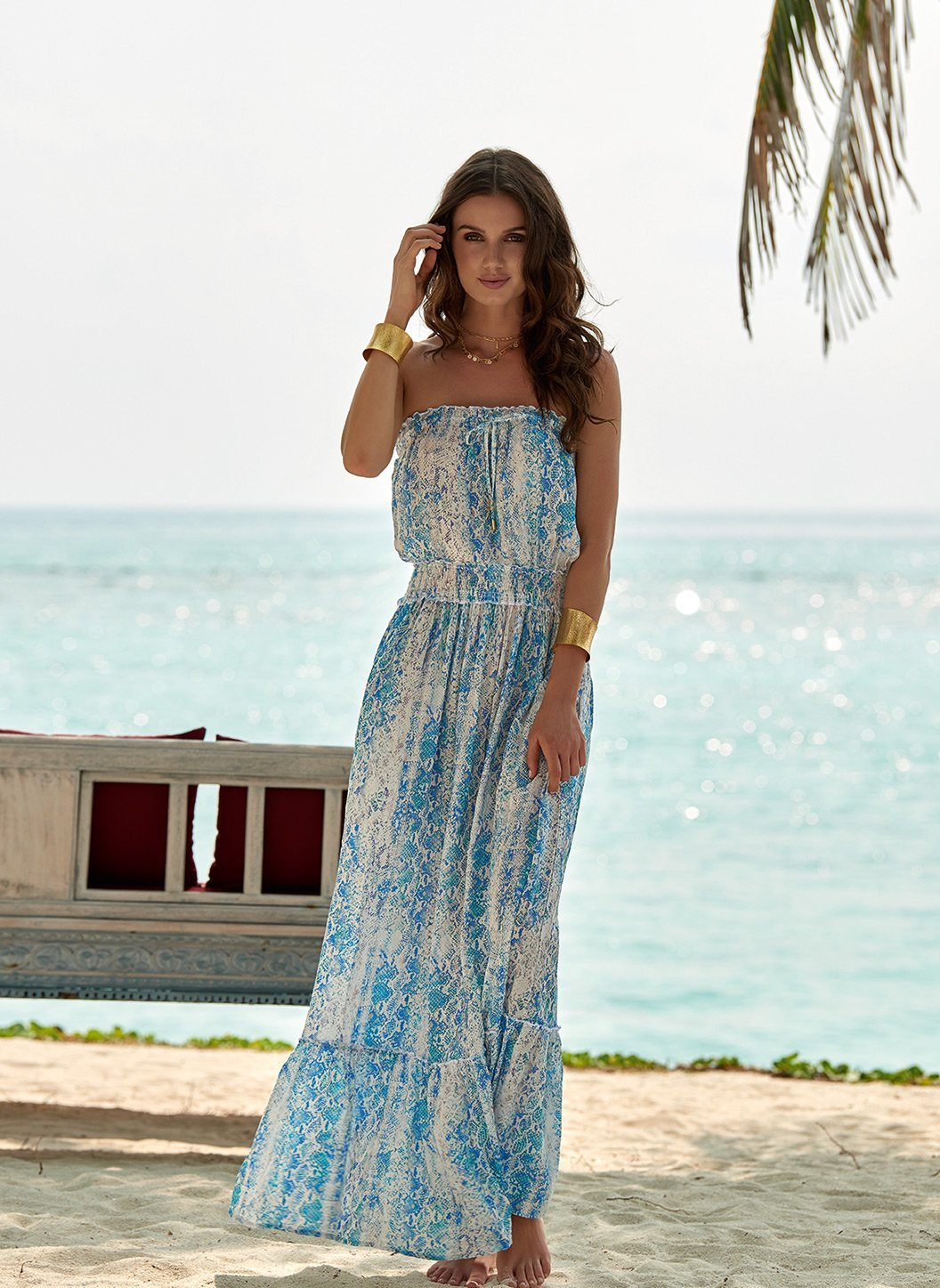 rachel serpente bandeau silk maxi dress lifestyle 2019