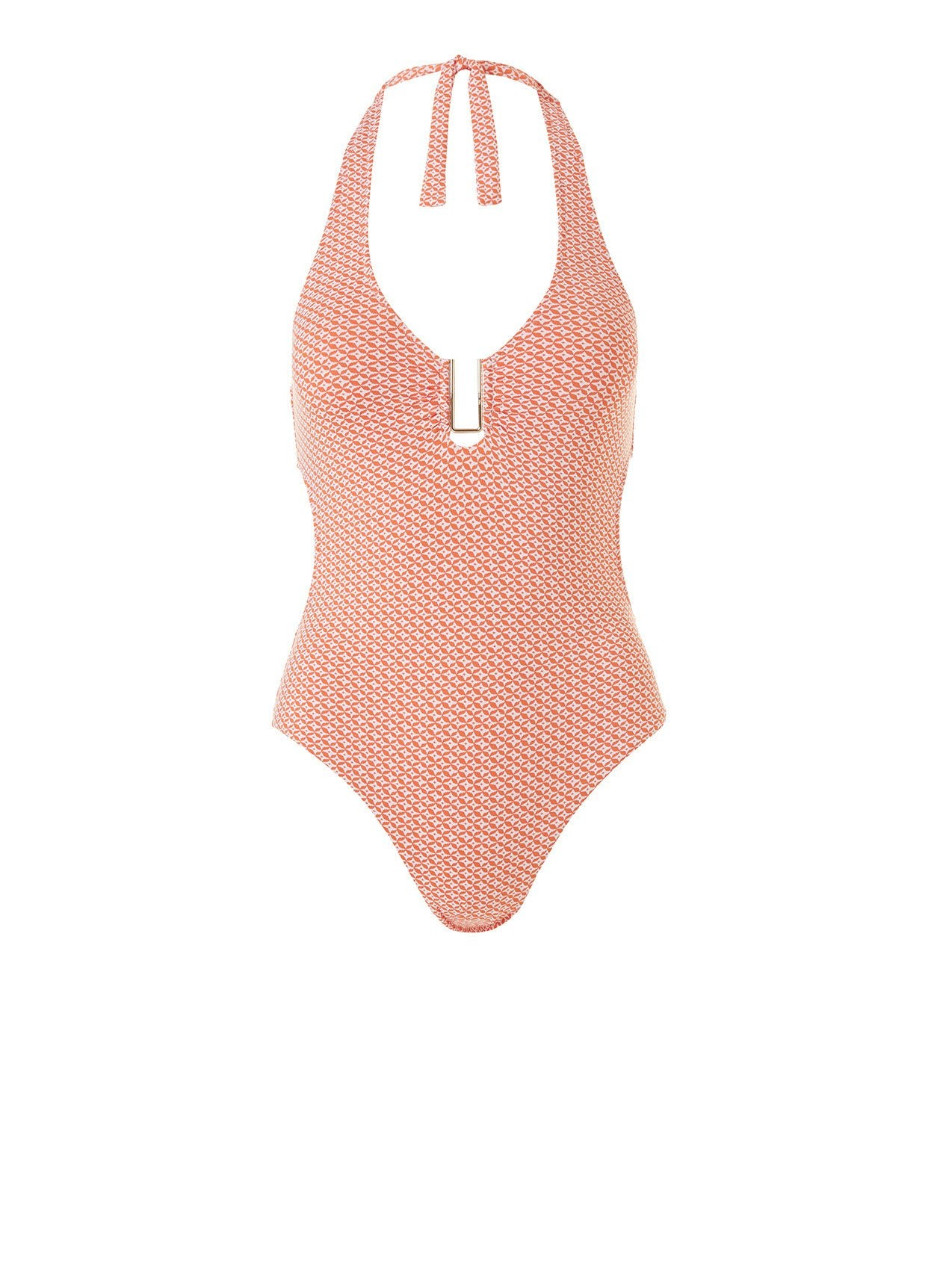 sahara mosaic orange halterneck swimsuit