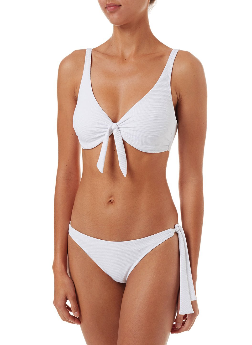 sanjuan white pique overtheshoulder knot supportive bikini 2019 F
