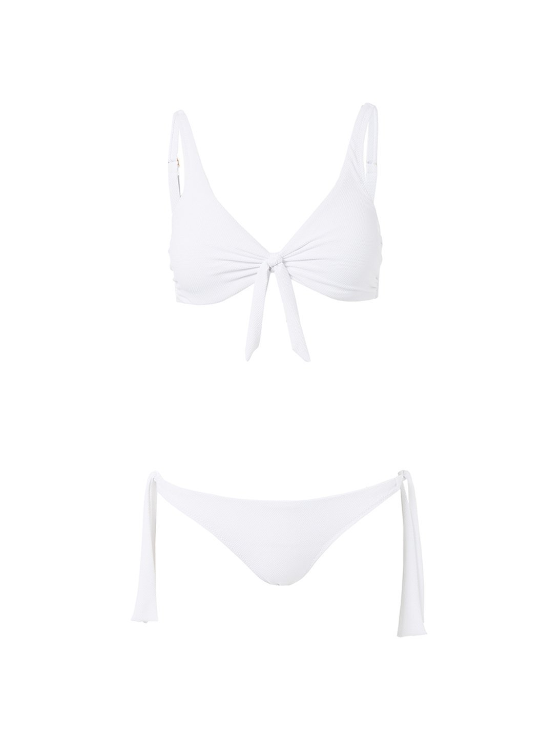 sanjuan white pique overtheshoulder knot supportive bikini 2019