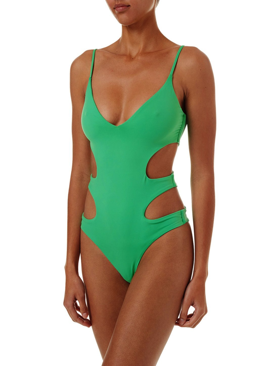 santorini green overtheshoulder cutout onepiece swimsuit 2019 F