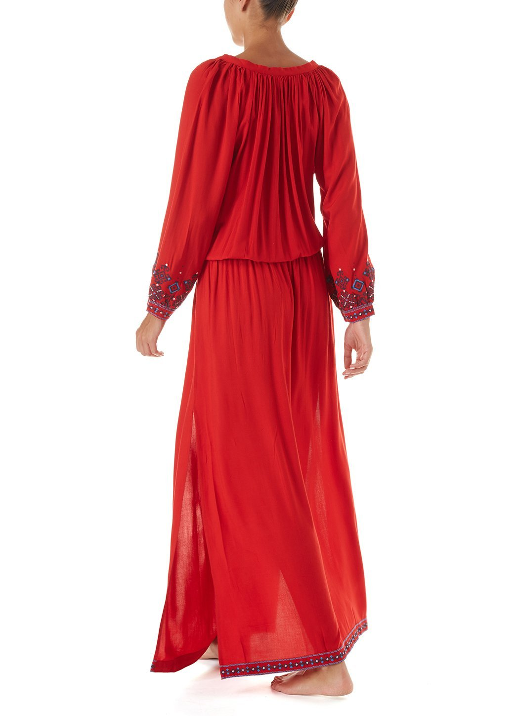 sienna red embroidered 34sleeve maxi dress 2019 B