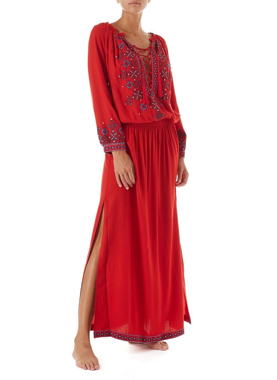 sienna red embroidered 34sleeve maxi dress 2019 F