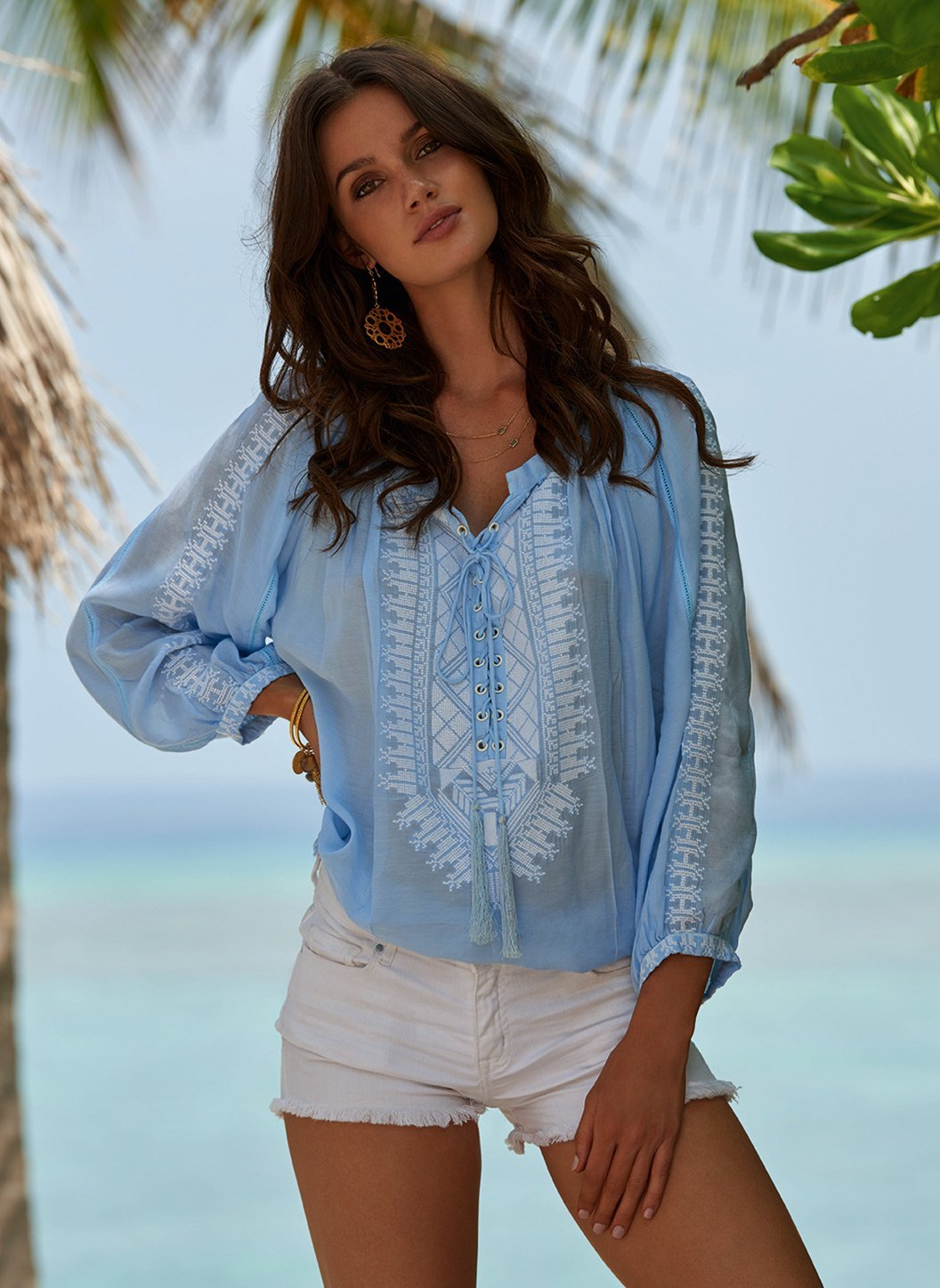 simona blue laceup embroidered blouse lifestyle 2019