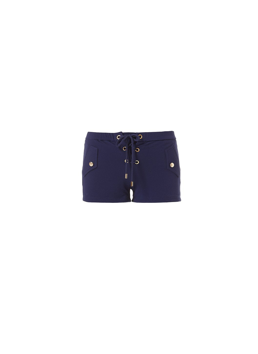 Sophia Navy Pique Lace-Up Eyelet Shorts