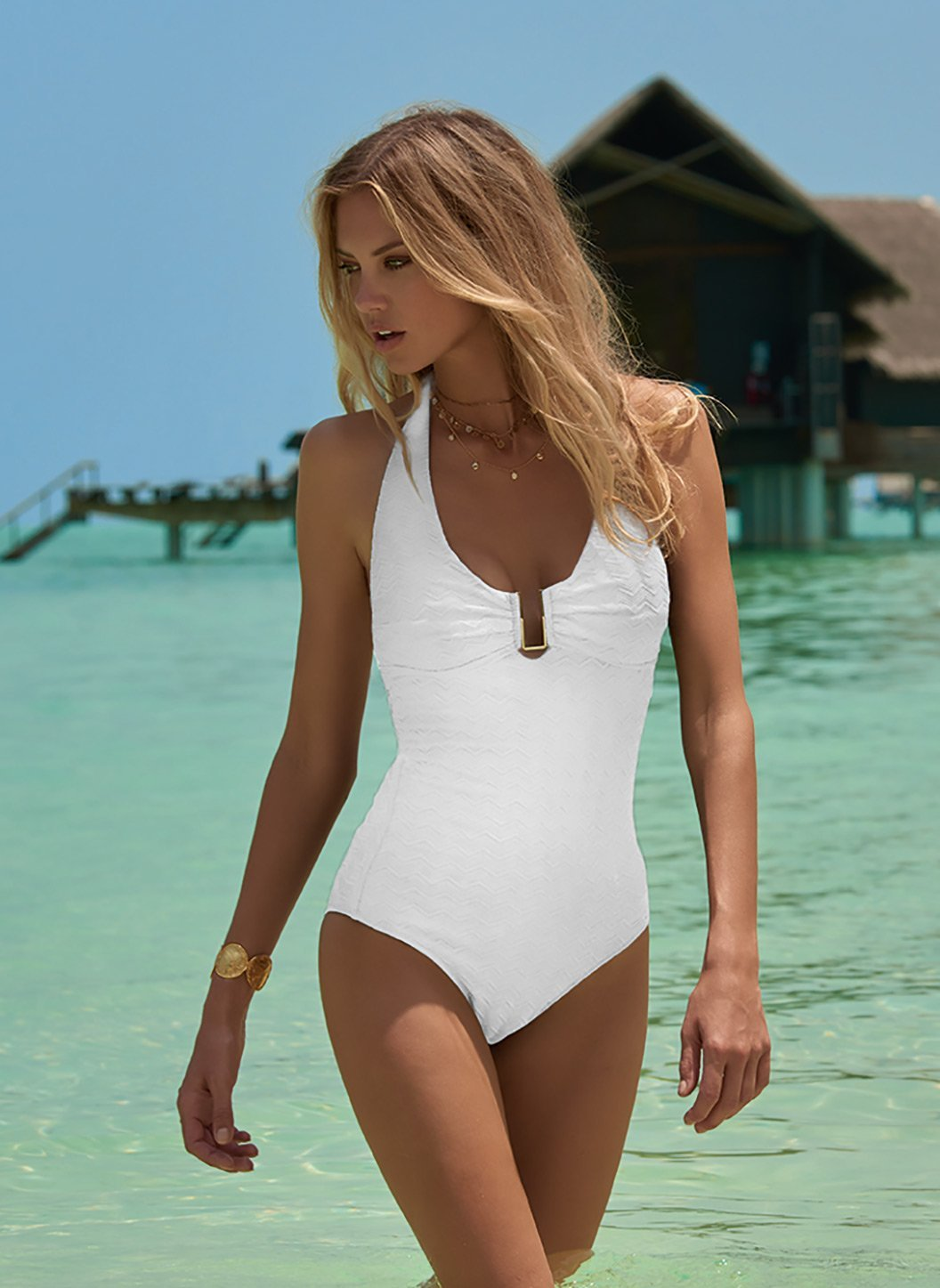 get new amazing quality latest releases Tampa White Zigzag Halterneck U-Trim Swimsuit