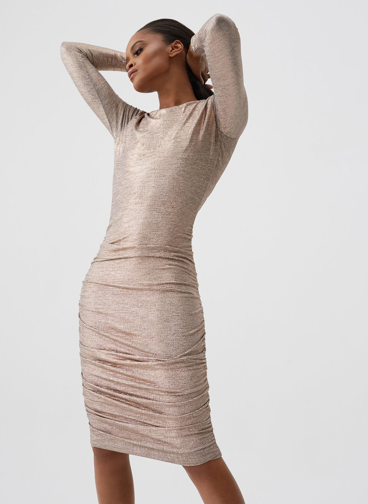 Taylor Rose Gold Gathered Midi Dress