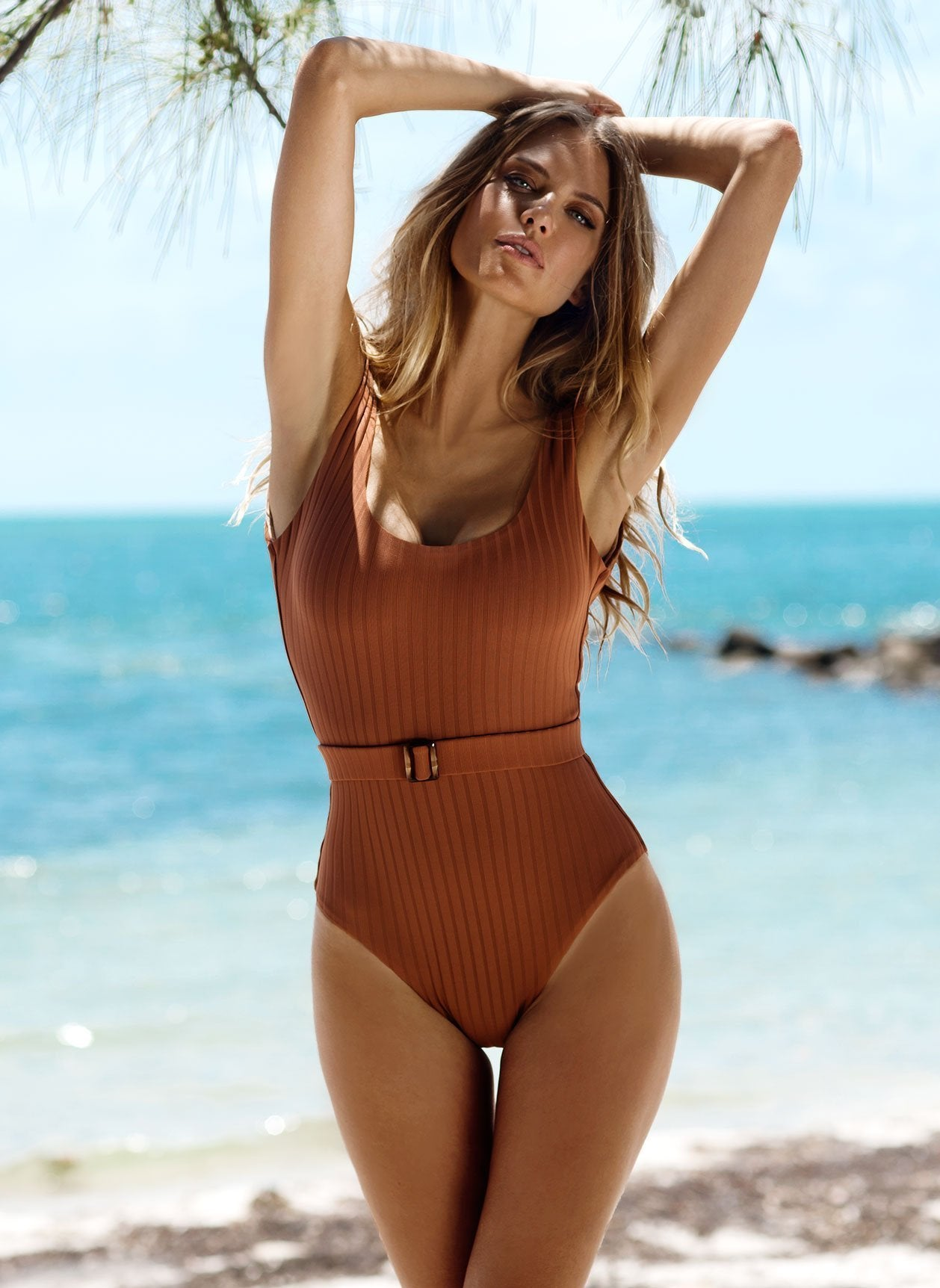 Texas Ribbed Coco Swimsuit Lifestyle