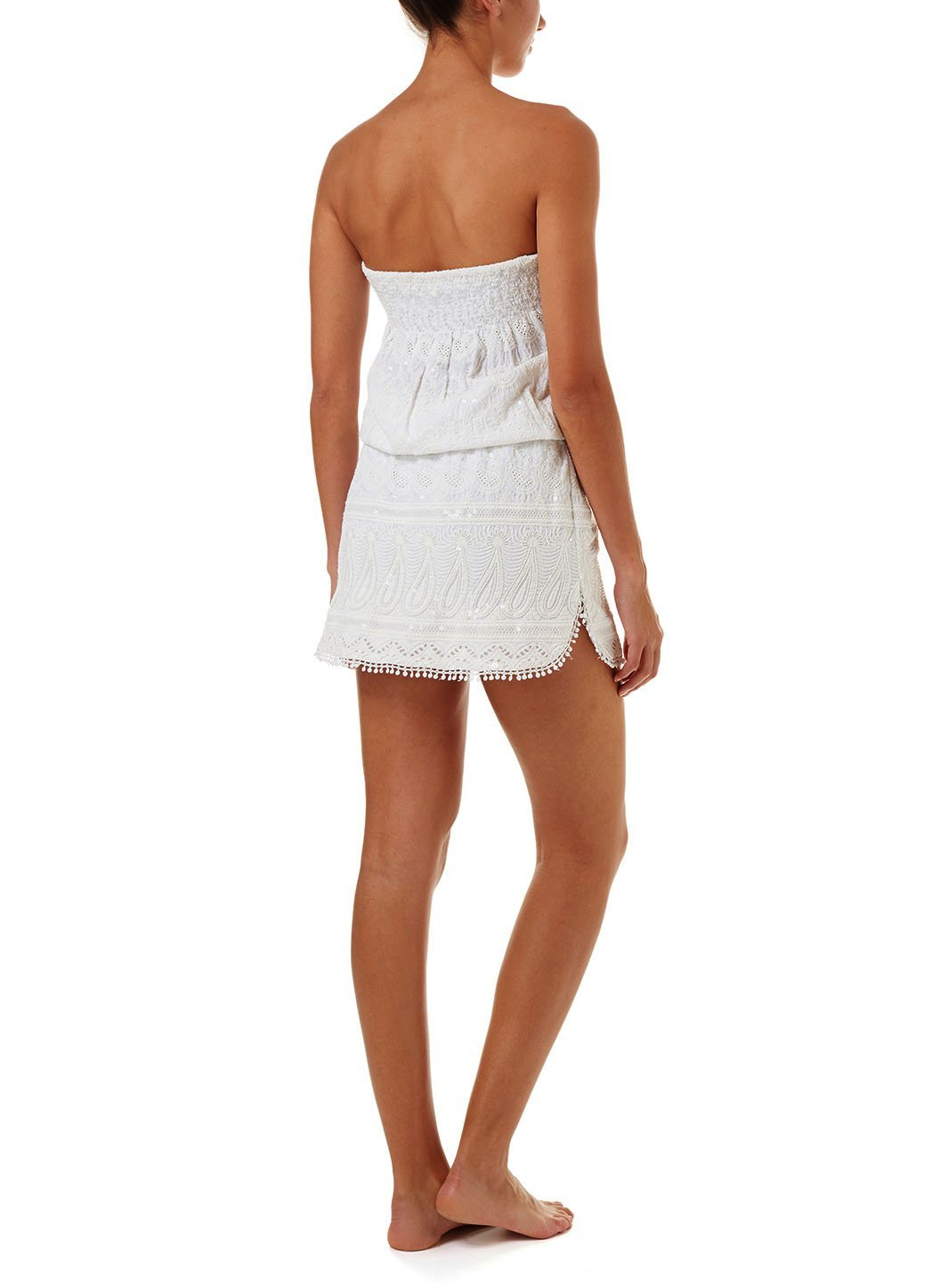 tia white textured short bandeau dress 2019 B