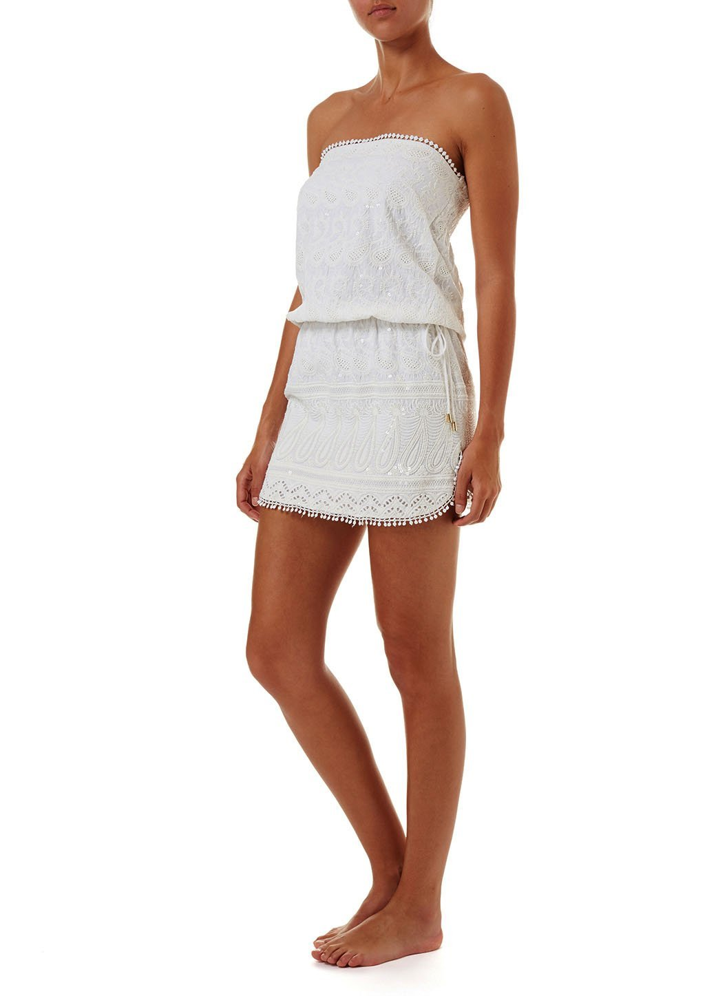 tia white textured short bandeau dress 2019 F