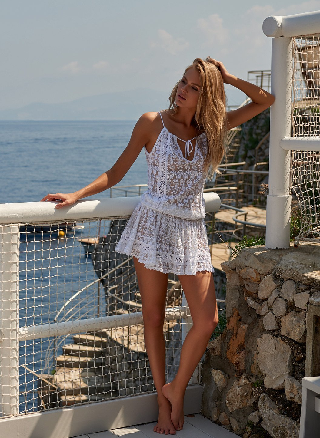 zoe white embroidered short beach dress lifestyle 2019