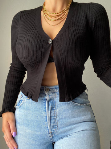 Regina Sweater Top - Black