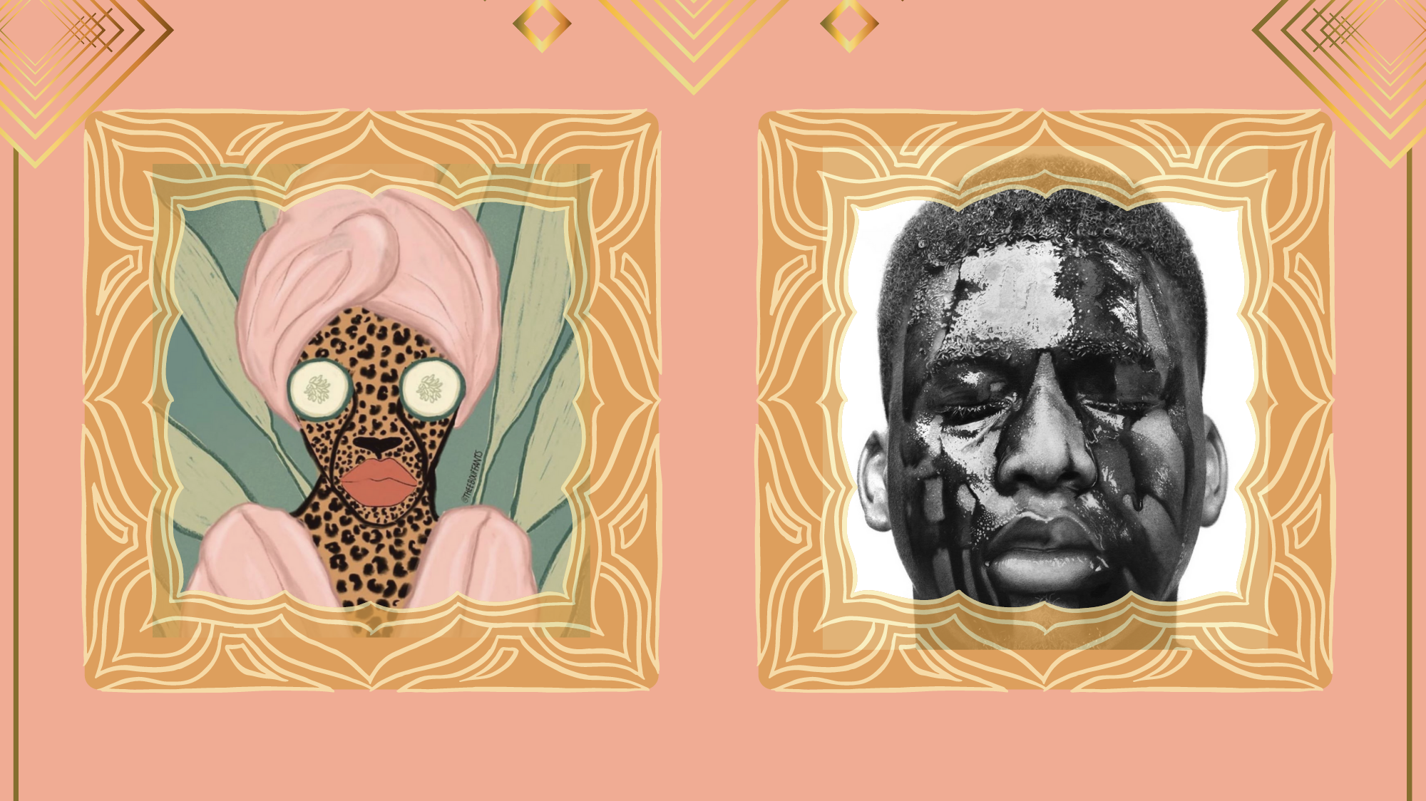 Side-by-side images of artwork by Kendra Dandy and Arinze Stanley