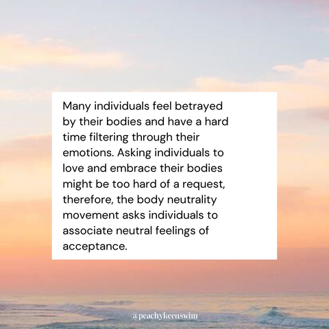 Image of a sunset with text describing the importance of body neutrality