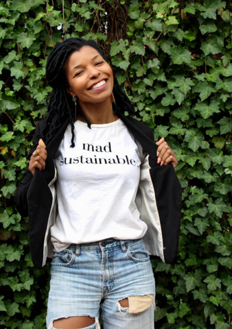 Woman in Sustainability in shirt that say 'mad sustainably'