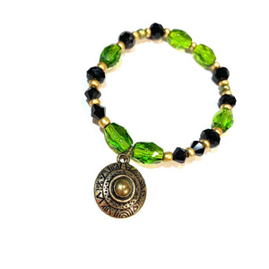 Olive Green with Bronze Charm